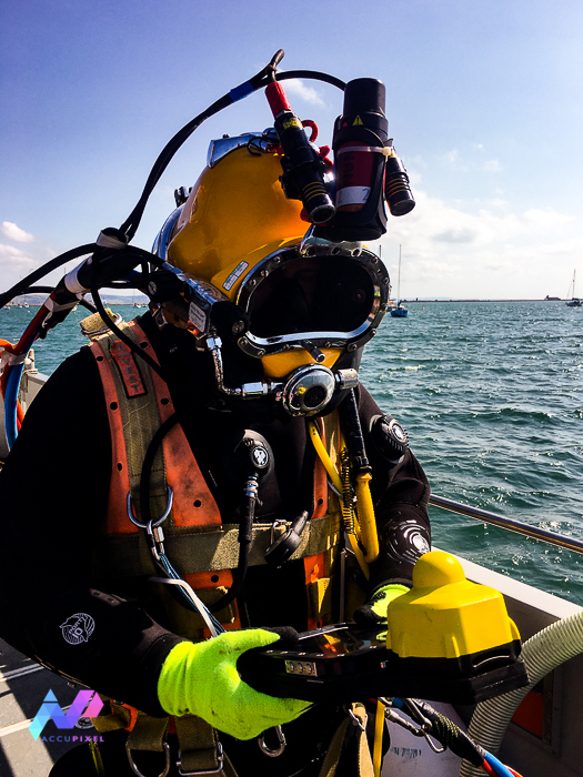 Commercial diver with Altab and UWIS